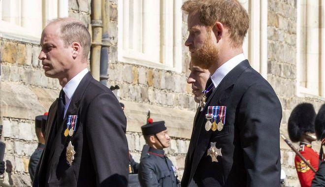 Οι πρίγκιπες Γουίλιαμ και Χάρι στην κηδεία του παππού τους, πρίγκιπα Φίλιπου