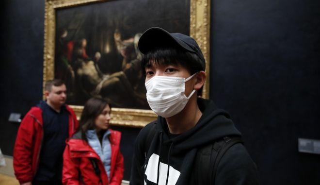 Τουρίστας με μάσκα στο Λούβρο