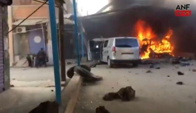 Εικόνα από την τουρκική επίθεση σε κονβόι αμάχων και δημοσιογράφων στη Συρία
