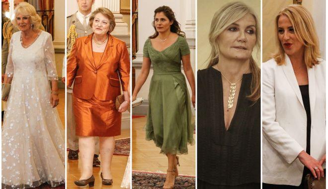 Οι γυναικείες παρουσίες στο προεδρικό μέγαρο, για το δείπνο προς τιμή του πριγκιπικού ζεύγους