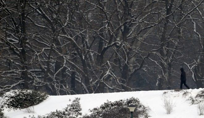 A man walks through the snow covered park in Belgrade, Serbia, Tuesday, Jan. 5, 2016. Freezing temperatures and light snowfall have engulfed much of the Balkans during the weekend for the first time this winter. (AP Photo/Darko Vojinovic)
