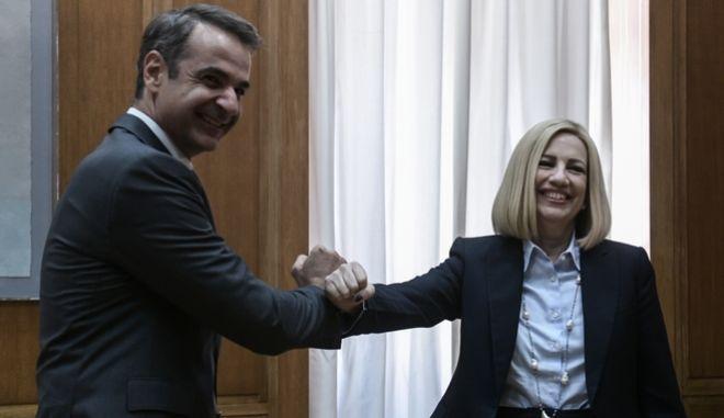 Συνάντηση του Πρωθυπουργού Κυριάκου Μητσοτάκη με την πρόεδρο του Κινήματος Αλλαγής Φώφη Γεννηματά
