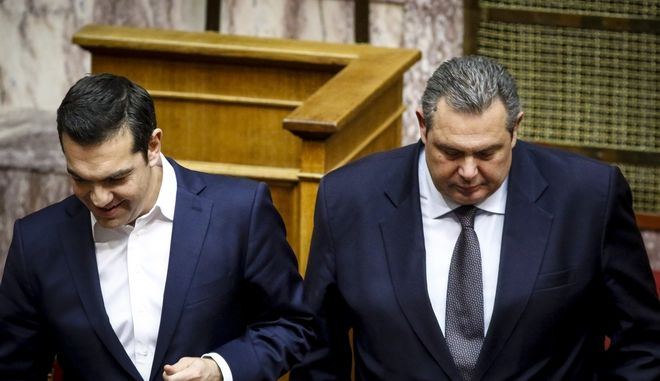 Τσίπρας και Καμμένος στη Βουλή