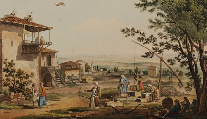 Επιχρωματισμένη χαλκογραφία που βρίσκεται στο Εθνικό Ιστορικό Μουσείο, στη Συλλογή Χαρακτικών παρουσιάζει εικόνα από τη ζωή -και τη δουλειά στη γη- στη Λάρισα.