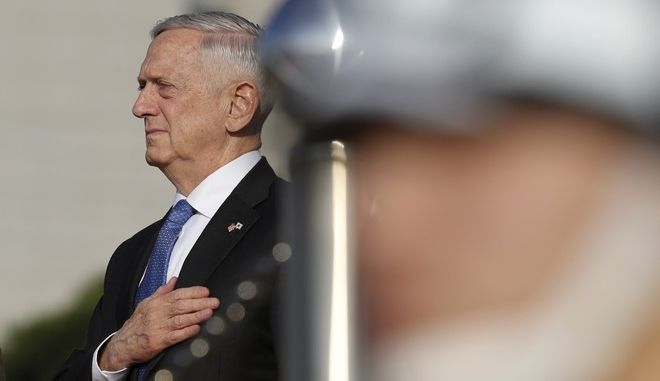 U.S. Defense Secretary Jim Mattis salutes during a welcome honor guard ceremony at Defense Ministry in Seoul, South Korea, Saturday, Oct. 28, 2017. (AP Photo/Lee Jin-man)