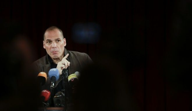 Former Greek finance minister Yanis Varoufakis attends a news conference about the launch of a new left-wing pan-Europe political movement called 'Democracy in Europe Movement 2025' in Berlin, Germany, Tuesday, Feb. 9, 2016. (AP Photo/Markus Schreiber)