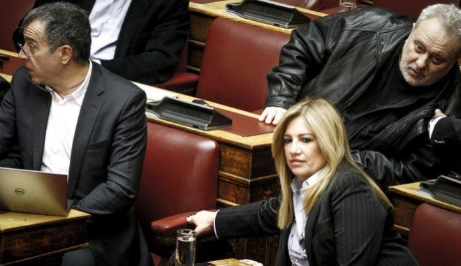 Ο Σταύρος Θεοδωράκης και η Φώφη Γεννηματά στα έδρανα της Βουλής