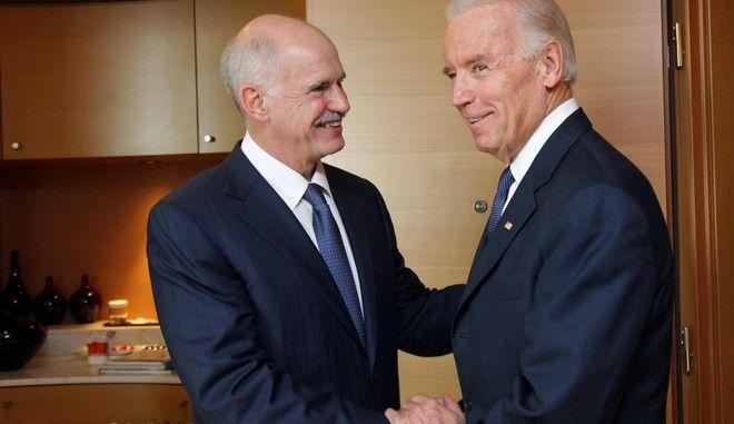 """Συνάντηση του προέδρου του ΠΑΣΟΚ Γιώργου Παπανδρέου με τον Αντιπρόεδρο των Ηνωμένων Πολιτειών της Αμερικής, Joseph """"Joe"""" Biden, Δευτέρα 5 Δεκεμβρίου, 2011. (EUROKINISSI / ΦΙΛΗΣ ΒΑΣΙΛΗΣ)"""