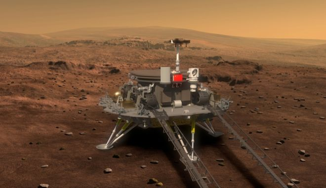 This artist's rendering provided to China's Xinhua News Agency on Tuesday, Aug. 23, 2016 by the lunar probe and space project center of Chinese State Administration of Science, Technology and Industry for National Defense, shows a concept design for a Mars rover and lander. According to Chinese state media, China plans to launch an orbiter that will deploy a lander and rover onto the surface of Mars in 2020. (Xinhua via AP)
