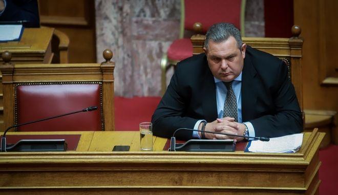 Ο υπουργός Άμυνας Πάνος Καμμένος στη Βουλή