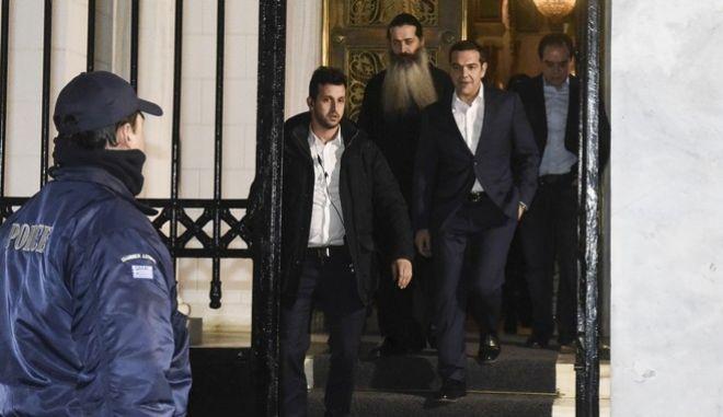Ο Πρωθυπουργός Αλέξης Τσίπρας συναντήθηκε με τον Αρχιεπίσκοπο Ιερώνυμο, προκειμένου να τον ενημερώσει για την πορεία των διαπραγματεύσεων σχετικά με  το θέμα ονομασίας των Σκοπίων. Πέμπτη 18/1/2018. (EUROKINISSI/ΤΑΤΙΑΝΑ ΜΠΟΛΑΡΗ)