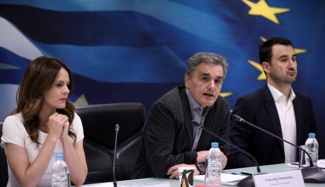 Από την κοινή συνέντευξη Τύπου των Υπουργών Τσακαλώτου-Αχτσιόγλου-Χαρίτση για τη ρύθμιση των 120 δόσεων