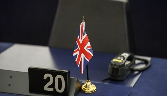 The empty seat of former UKIP leader Nigel Farage is pictured at the European Parliament in Strasbourg, early Tuesday, March 14, 2017. Britain lurched closer to leaving the European Union Monday when Parliament stopped resisting and gave Prime Minister Theresa May the power to file for divorce from the bloc. (AP Photo/Jean-Francois Badias)