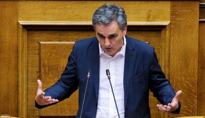 Ο υπουργός Οικονομικών Ευκλείδης Τσακαλώτος στη Βουλή
