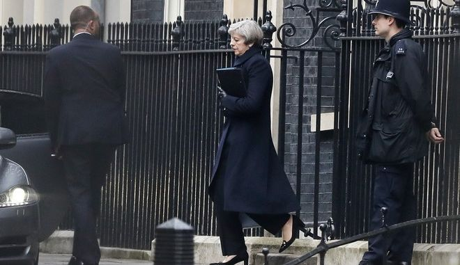 Britain's Prime Minister Theresa May leaves Downing Street in London, Thursday March 23, 2017 on her way to the House of Parliament. On Wednesday a man went on a deadly rampage, first driving a car into pedestrians then stabbing a police officer to death before being fatally shot by police within Parliament's grounds in London. (AP Photo/Kirsty Wigglesworth)