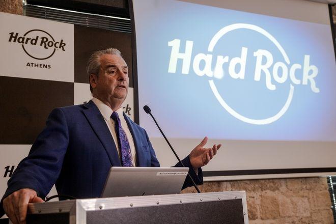 Συνέντευξη τύπου από τον Jim Allen, Πρόεδρο της Hard Rock International με θέμα την ανακοίνωση της κατάθεσης δεσμευτικής προσφοράς για την δημιουργία και λειτουργίας επιχείρησης καζίνο ευρέως φάσματος δραστηριοτήτων στον Μητροπολιτικό Πόλο Ελληνικού Αγίου Κοσμά, την Παρασκευή 23 Αυγούστου 2019. (EUROKINISSI/ΓΙΑΝΝΗΣ ΠΑΝΑΓΟΠΟΥΛΟΣ)