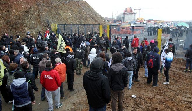 Στιγμίοτυπο από διαμαρτυρία ενάντια στα μεταλλεία στις Σκουριές