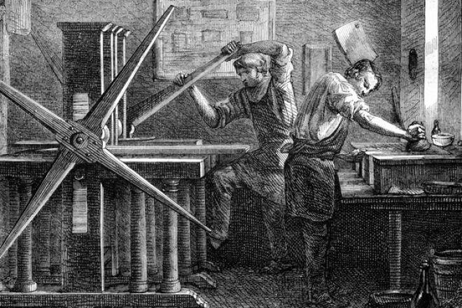 Εργάτες σε τυπογραφείο της Επανάστασης ζήτησαν λίγα γρόσια για να περάσουν τις γιορτές του Πάσχα, για να θέσουν σε λειτουργία το μηχανισμό που έδωσε το επίδομα.