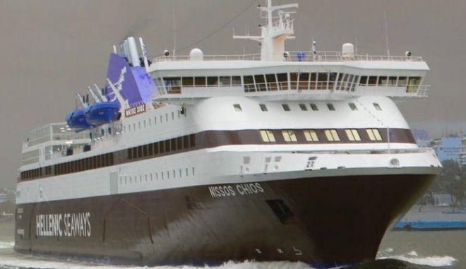 'Νήσος Χίος': 'Έμεινε' στα ανοιχτά της Λήμνου λόγω θυελλωδών  ανέμων