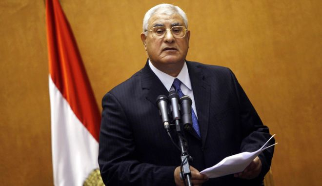 Adli Mansour, Egypt's chief justice and head of the Supreme Constitutional Court, speaks at his swearing in ceremony as the nation's interim president in Cairo July 4, 2013, a day after the army ousted Mohamed Mursi as head of state. REUTERS/Amr Abdallah Dalsh (EGYPT - Tags: POLITICS CIVIL UNREST TPX IMAGES OF THE DAY) - RTX11C55