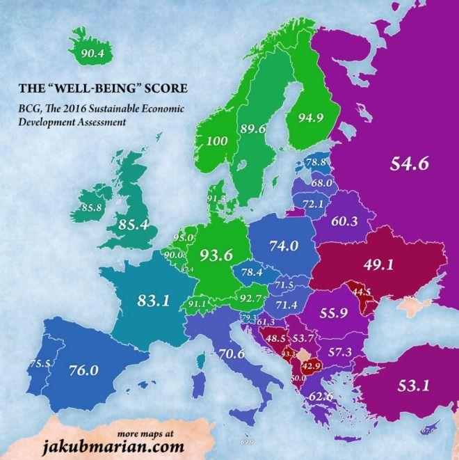 Χάρτης: Οι καλύτερες χώρες για να ζεις στην Ευρώπη του 2016