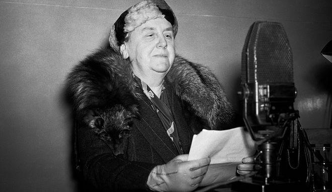 Η βασίλισσα Βιλελμίνη της Ολλανδίας τον Μάρτιο του 1942 στο Λονδίνο όπου είχε διαφύγει