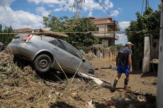 Στιγμιότυπο από το Μπούρτζι της Εύβοιας μετά τις φονικές πλημμύρες