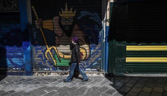 Εικόνα από το κέντρο της Αθήνας σε καιρό lockdown