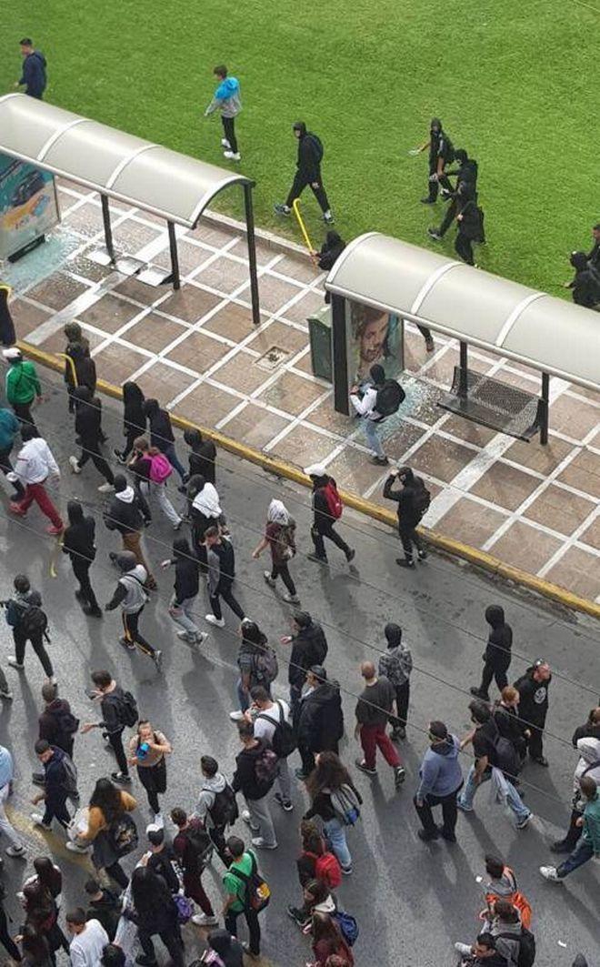 Στους δρόμους της Αθήνας οι μαθητές - Επεισόδια στο κέντρο