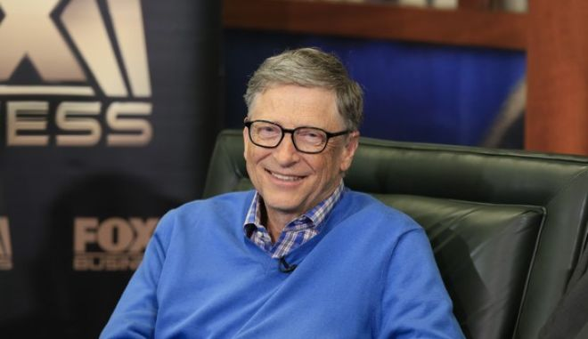 Bill Gates, Microsoft co-founder and director at Berkshire Hathaway Bill Gates smiles during an interview with Liz Claman of the Fox Business Network in Omaha, Neb., Monday, May 8, 2017. (AP Photo/Nati Harnik)