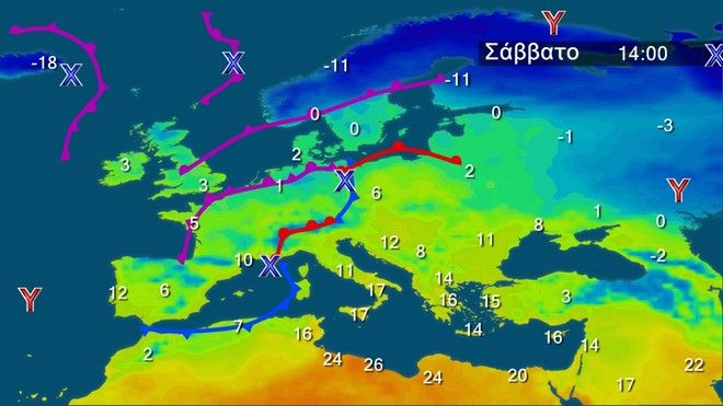 Οι θερμοκρασίες στην Ευρώπη το Σάββατο