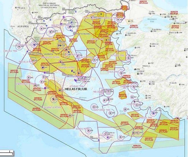 Ηνίοχος: Ο χάρτης της άσκησης που κάνει όλο το Αιγαίο πεδίο ασκήσεων