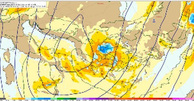 Προβλεπόμενα ύψη υετού από Παρασκευή 04/12:00 έως Παρασκευή 04/18:00 UTC