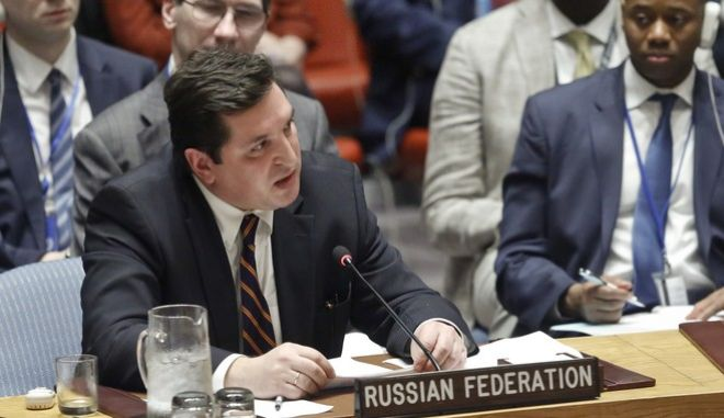 Russian Deputy U.N. Ambassador Vladimir Safronkov addresses the Security Council after a vote on a resolution condemning Syria's use of chemical weapons failed, Wednesday, April 5, 2017. (AP Photo/Bebeto Matthews)