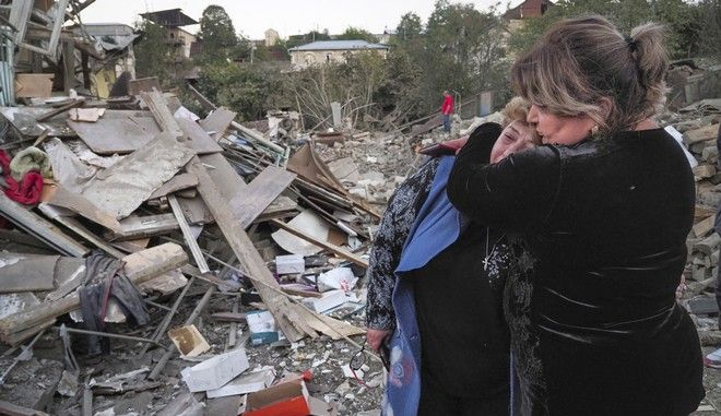 Εικόνα από το βομβαρδισμένο Στεπανακέρτ στο Ναγκόρνο Καραμπάχ