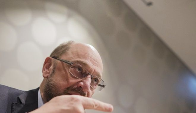 In this Jan. 16, 2018 photo the leader of the Social Democratic Party (SPD), Martin Schulz, sits in a hotel in Duesseldorf, Germany. Leaders of Germanys Social Democrats are lobbying hard for party members to vote this weekend for opening coalition talks with Chancellor Angela Merkels Union bloc.  (Rolf Vennenbernd/dpa via AP)