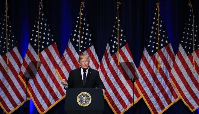 President Donald Trump speaks and lays out a national security strategy that envisions nations in perpetual competition, reverses Obama-era warnings on climate change, and de-emphasizes multinational agreements, in Washington, Monday, Dec. 18, 2017. (AP Photo/Manuel Balce Ceneta)
