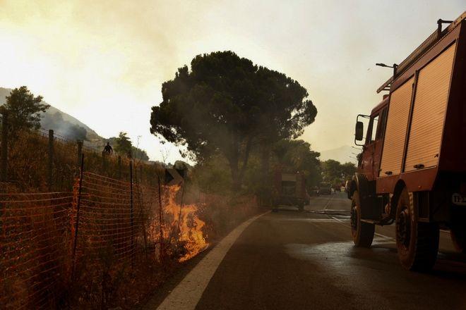 Πυρκαγιά στην περιοχή Λαμπίρη Αχαιας, Σάββατο 31 Ιουλίου 2021. (EUROKINISSI)