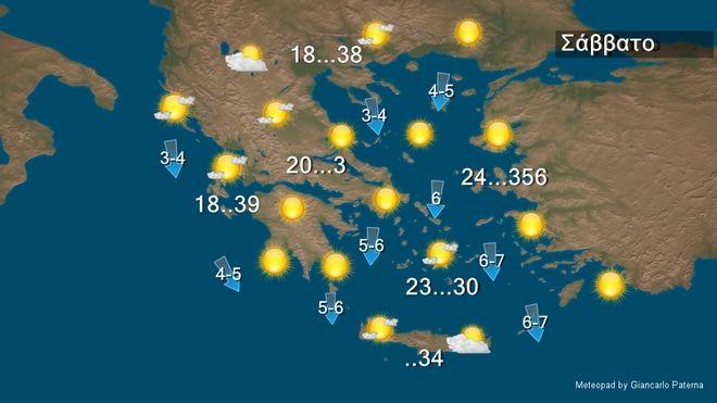 Συνεχίζεται η ζέστη το Σάββατο – Μελτέμι 6-7 μποφόρ στο Αιγαίο