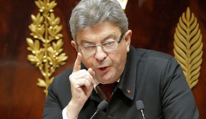 Far-left leader Jean-Luc Melanchon gestures as he speaks during a session at the French National Assembly in Paris, France, Tuesday, July 4, 2017. French Prime Minister Edouard Philippe is set to face a confidence vote at parliament after his first big speech to detail the government's economic and social priorities. (AP Photo/Michel Euler)