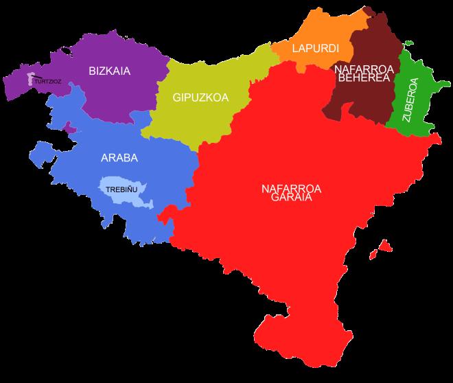 Ο χάρτης με τις 7 επαρχίες της Euskal Herria.