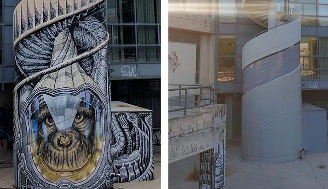"""Σβήστηκε γκράφιτι του διάσημου street artist """"WD"""" στο Εθνικό Μετσόβιο Πολυτεχνείο"""