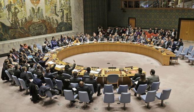 Στιγμιότυπο από συνεδρίαση του Συμβουλίου Ασφαλείας του ΟΗΕ στη Νέα Υόρκη