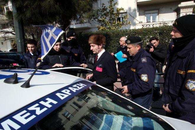 ΑΘΗΝΑ-Συνέλαβαν τους Γερμανούς που διαμαρτυρήθηκαν υπέρ της Ελλάδας έξω από τη Γερμανική πρεσβεία.(EUROKINISSI-ΓΙΑΝΝΗΣ ΠΑΝΑΓΟΠΟΥΛΟΣ)