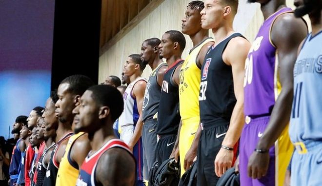 LOS ANGELES, CA - SEPTEMBER 15:  Nike unveils the new jerseys during the unveiling of the New NBA Partnership with Nike on September 15, 2017 in Los Angeles, California.  (Photo by Josh Lefkowitz/Getty Images)