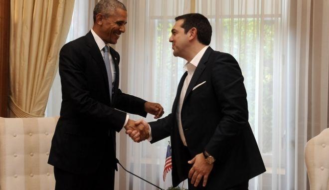 Συνάντηση του Πρωθυπουργού Αλέξη Τσίπρα με τον Πρόεδρο των ΗΠΑ Μπαράκ Ομπάμα την Τρίτη 15 Νοεμβρίου 2016, στο Μέγαρο Μαξίμου. (EUROKINISSI/ΤΑΤΙΑΝΑ ΜΠΟΛΑΡΗ)