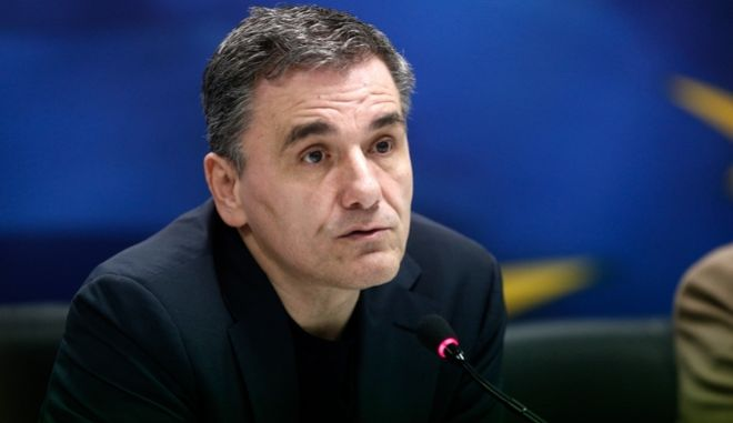 Greece's Finance Minister Euclid Tsakalotos delivers a press conference to inform about the contacts with his counterparts in Europe, Athens, January 18, 2016.  /                   , , 18  2016.