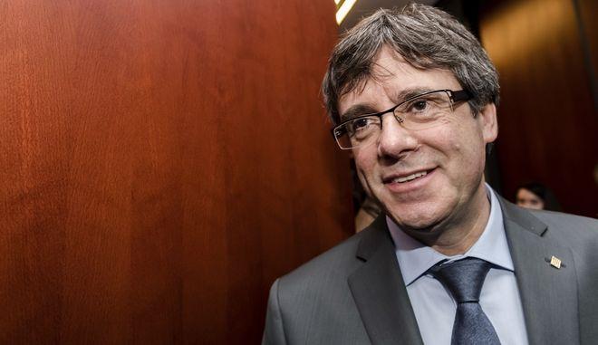 Ο εξόριστος πρόεδρος της Καταλονίας Κάρλες Πουντζντεμόν (AP Photo/Geert Vanden Wijngaert)