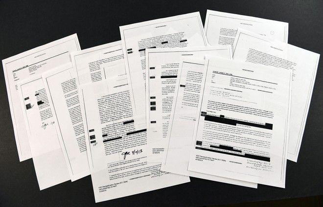 Αντίγραφα των σημειώσεων που έγραψε ο Comey, μετά τις συναντήσεις που είχε με τον Trump (AP Photo/Susan Walsh)