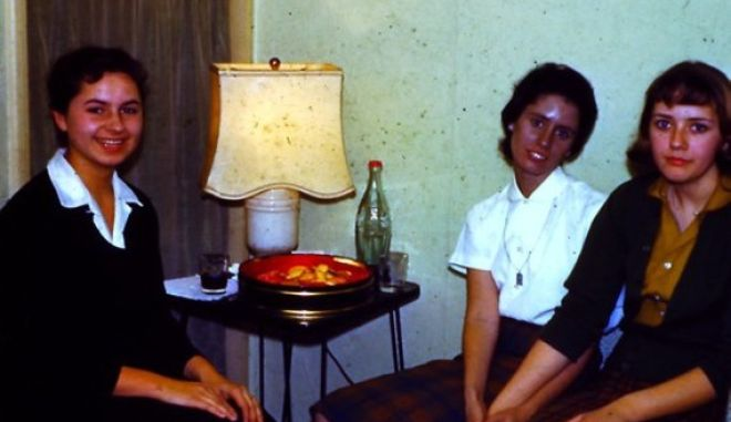 Pic By HotSpot Media - WOMAN'S SKIN TURNED SILVER AFTER TAKING NOSE DROPS -IN PIC - Rosemary Jacobs, shown here aged 16 with two friends  -An American woman whose skin turned silver after using nose drops is warning people of the dangers of medicines containing the metal. Rosemary Jacobs, 71, has lived with irreversible skin condition argyria for 60 years and it has blighted her life. The retired pre-school teacher's skin started to turn metallic silver when she began taking nasal drops containing colloidal silver (CS) at the age of 11. Four years later a skin biopsy revealed silver particles bound deep beneath her skin and she was diagnosed with argyria. Rosemary, from Vermont, USA said: When I was 11 years old, my mother mentioned to an ENT specialist that I always had a cold. SEE HOTSPOT COPY 0121 551 1004